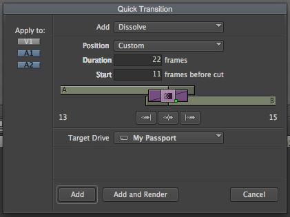 Adjusting dissolves in Media Composer